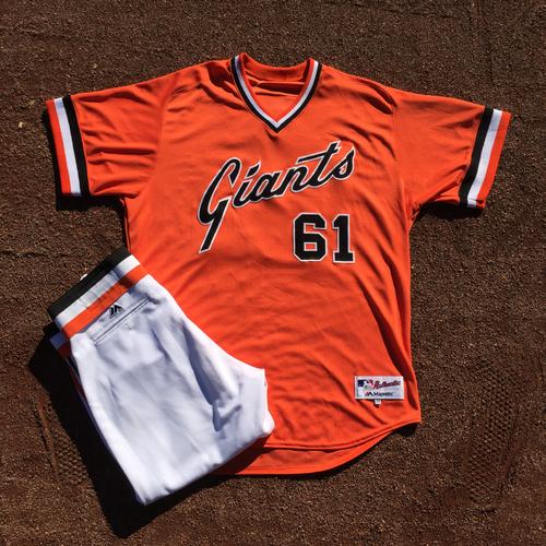 Photo of San Francisco Giants - 2016 Turn Back the Clock 1978 Orange Jersey (w/ pants) - worn by #61 Josh Osich @ BOS (Size: 48)
