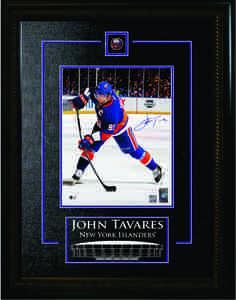 John Tavares - Signed & Framed 8x10 Etched Mat - Islanders Slapshot Blue
