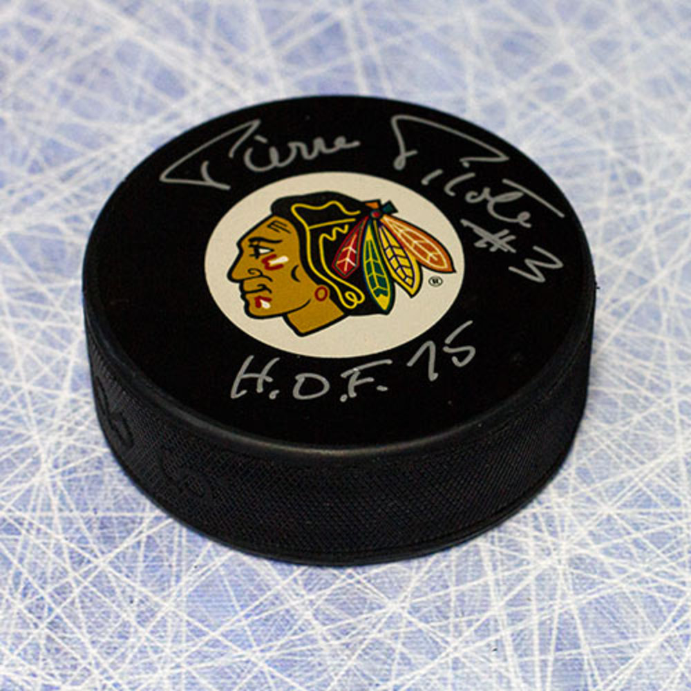 Pierre Pilote Chicago Blackhawks Autographed Hockey Puck with HOF Note