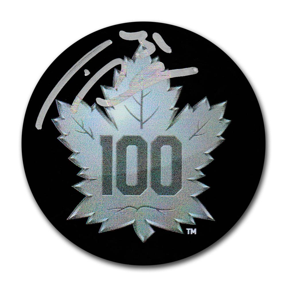 Frederik Andersen Autographed Toronto Maple Leafs Centennial Season Arena Exclusive Puck