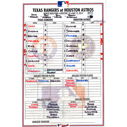 Photo of Texas Rangers Game-Used Lineup Card vs. Houston Astros on May 13, 2014