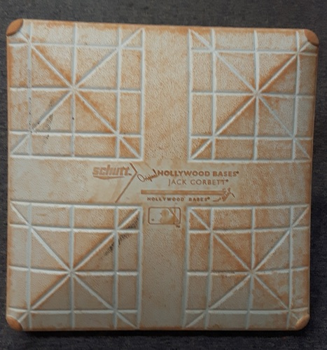 Authenticated Game Used Base - 1st Base for Innings 6 to 9: Detroit at Toronto (Aug. 29, 2015). Edwin Encarnacion, 3 Home run game. 2 run HR in bottom of 6; Grand Slam in bottom of 7. 9 RBI game. 29th Home run of the season. 24 game hit streak.