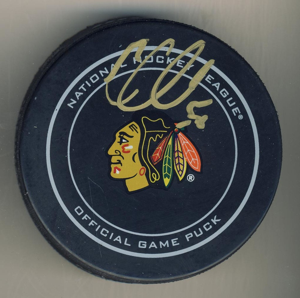 Corey Crawford Chicago Blackhawks Autographed Official NHL Game Puck *Autograph Slightly Streaky*
