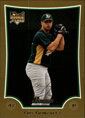 Photo of 2009 Bowman Draft Gold #BDP52 Gio Gonzalez -- Nationals post-season