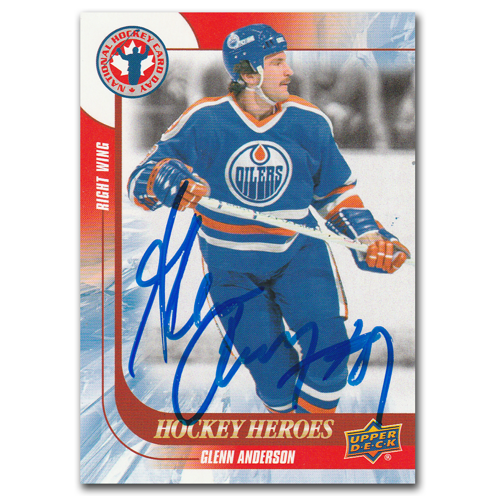Glen Anderson Autographed Edmonton Oilers Upper Deck Hockey Card