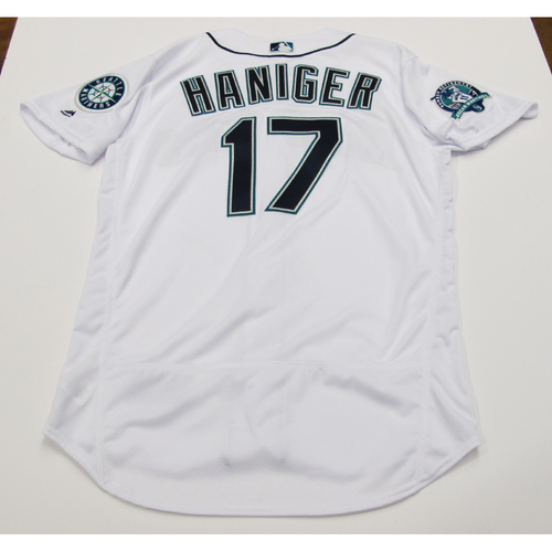 Photo of Mitch Haniger White Team-Issued Jersey Edgar Martinez Patch 8-12-2017 - Jersey size - 46