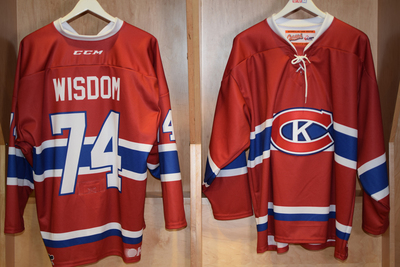 #74 Zayde Wisdom Game Issued Kingston Canadians Jersey