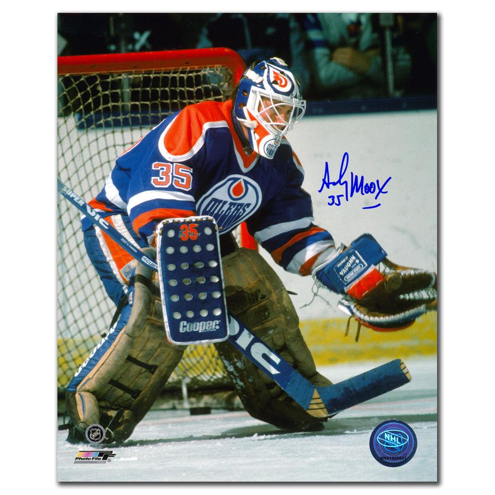 Andy Moog Edmonton Oilers Oil Drop Mask Autographed 8x10