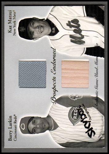 Photo of 2004 SkyBox Autographics Prospects Endorsed Dual Jersey #BLKM Barry Larkin/Kaz Matsui Bat