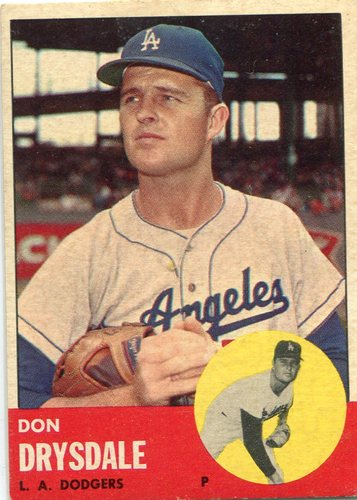 Photo of 1963 Topps #360 Don Drysdale -- Dodgers Hall of Famer