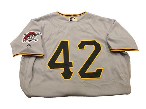 Photo of Adam Frazier Game-Used Jackie Robinson Day Jersey (2 for 5, Triple, 2 Runs Scored, RBI)