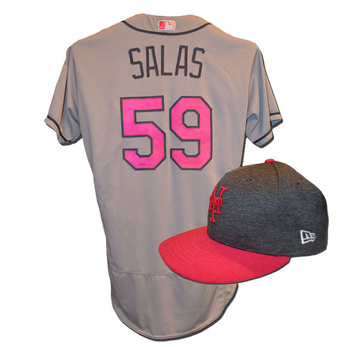 Photo of Fernando Salas #59 - Game Used Mother's Day Jersey and Hat - Salas Pitches 1.1 Innings, 2 K's - Mets vs. Brewers - 5/14/17