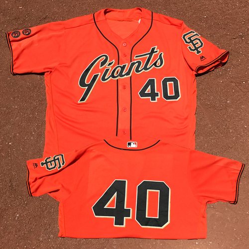 Photo of San Francisco Giants - Game-Used - 2016 Orange Friday Jersey - Madison Bumgarner - Worn on 6/24/16 and 7/8/16