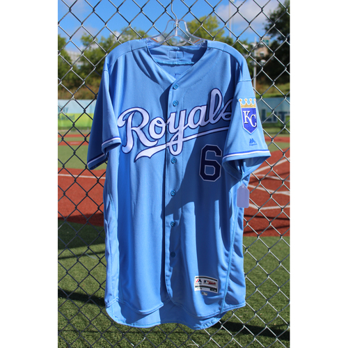 Photo of Game-Used Jersey: Lorenzo Cain 746th Career Hit, 142nd Career Double, 143rd Career Double, & 307th Career RBI (Size 46 - SEA at KC - Game 1 - 8/6/17)