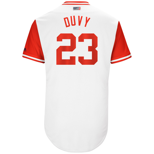 "Photo of Adam ""Duvy"" Duvall Cincinnati Reds Game-Used Players Weekend Jersey"