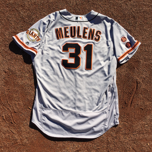 Photo of San Francisco Giants - 2016 Game-Used Road Jersey - Worn by #31 Hensley Meulens @ NYY - Also Worn 7/19 @BOS (Size 50)