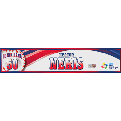 Photo of 2017 WBC Dominican Republic Game-Used Locker Tag: Hector Neris #50