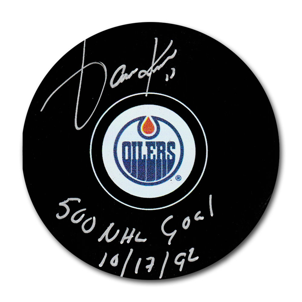 Jari Kurri Autographed Edmonton Oilers Puck w/500 NHL GOAL 10/17/92 Inscription