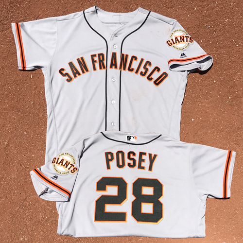 Photo of San Francisco Giants - Game-Used - 2017 Opening Day Road Jersey - Buster Posey - Worn on 4/2/17