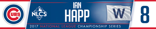 Photo of Ian Happ Game-Used Locker Nameplate -- NLCS Game 4 -- Dodgers vs. Cubs -- 10/18/17