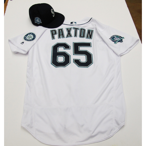 Photo of James Paxton White Team-Issued Jersey & Cap With Edgar Martinez Patch 8-12-2017 - Sizes: Jersey - 48, Cap 7 1/8