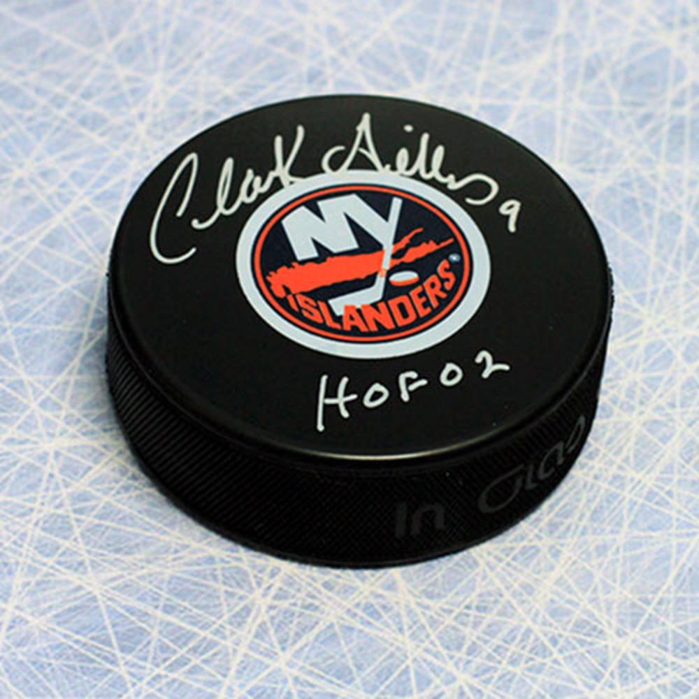 Clarke Gillies New York Islanders Autographed Hockey Puck with HOF Note