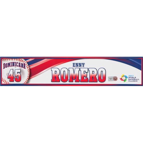 Photo of 2017 WBC Dominican Republic Game-Used Locker Tag: Enny Romero #45