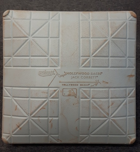 Photo of Authenticated Game Used Base - 2nd Base for Innings 6 to 9: Detroit at Toronto (Aug. 29, 2015). Edwin Encarnacion, 3 Home run game. 2 run HR in bottom of 6; Grand Slam in bottom of 7. 9 RBI game. 29th Home run of the season. 24 game hit streak.
