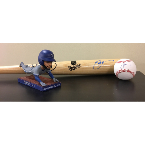 Photo of Autographed Eric Hosmer Bat and Baseball Package