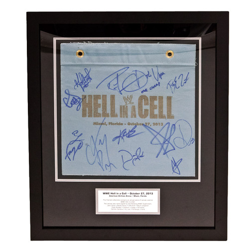 WWE Hell In A Cell 2013 Event Plaque with SIGNED Ring Canvas