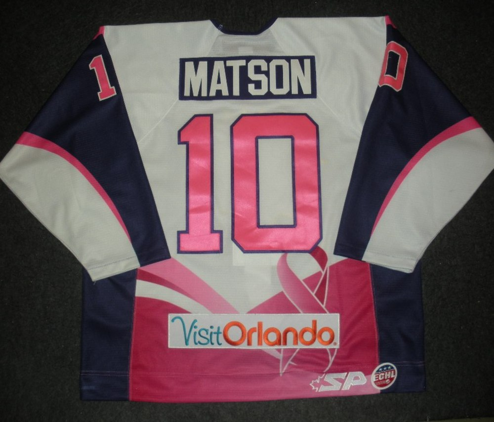 Taylor Matson - Orlando Solar Bears - Hockey Fights Cancer Game-Worn Jersey