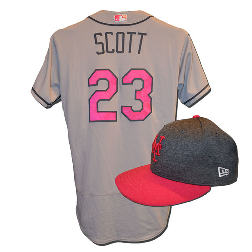 Photo of Dick Scott #23 - Game Used Mother's Day Jersey and Hat - Mets vs. Brewers - 5/14/17