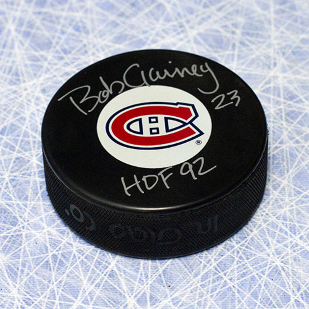 Bob Gainey Montreal Canadiens Autographed Hockey Puck w/ HOF Note