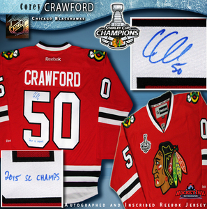 COREY CRAWFORD Signed Chicago Blackhawks Red Reebok Jersey with