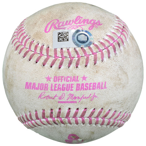 Photo of San Diego Padres Game-Used Pink Mother's Day Baseball vs New York Mets on May 8, 2016