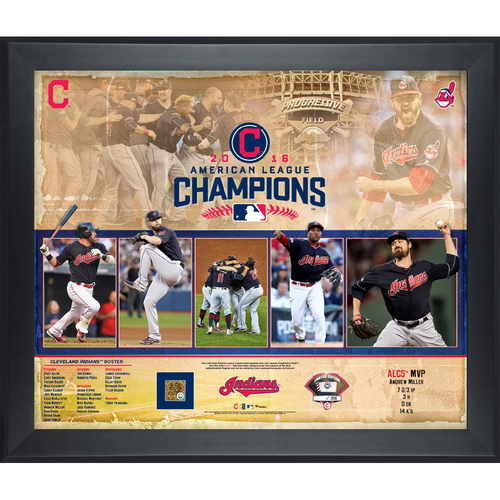 Photo of 2016 American League Champions Indians Exclusive Framed Piece with Game-Used Dirt and a piece of Game-Used Baseball from the ALCS
