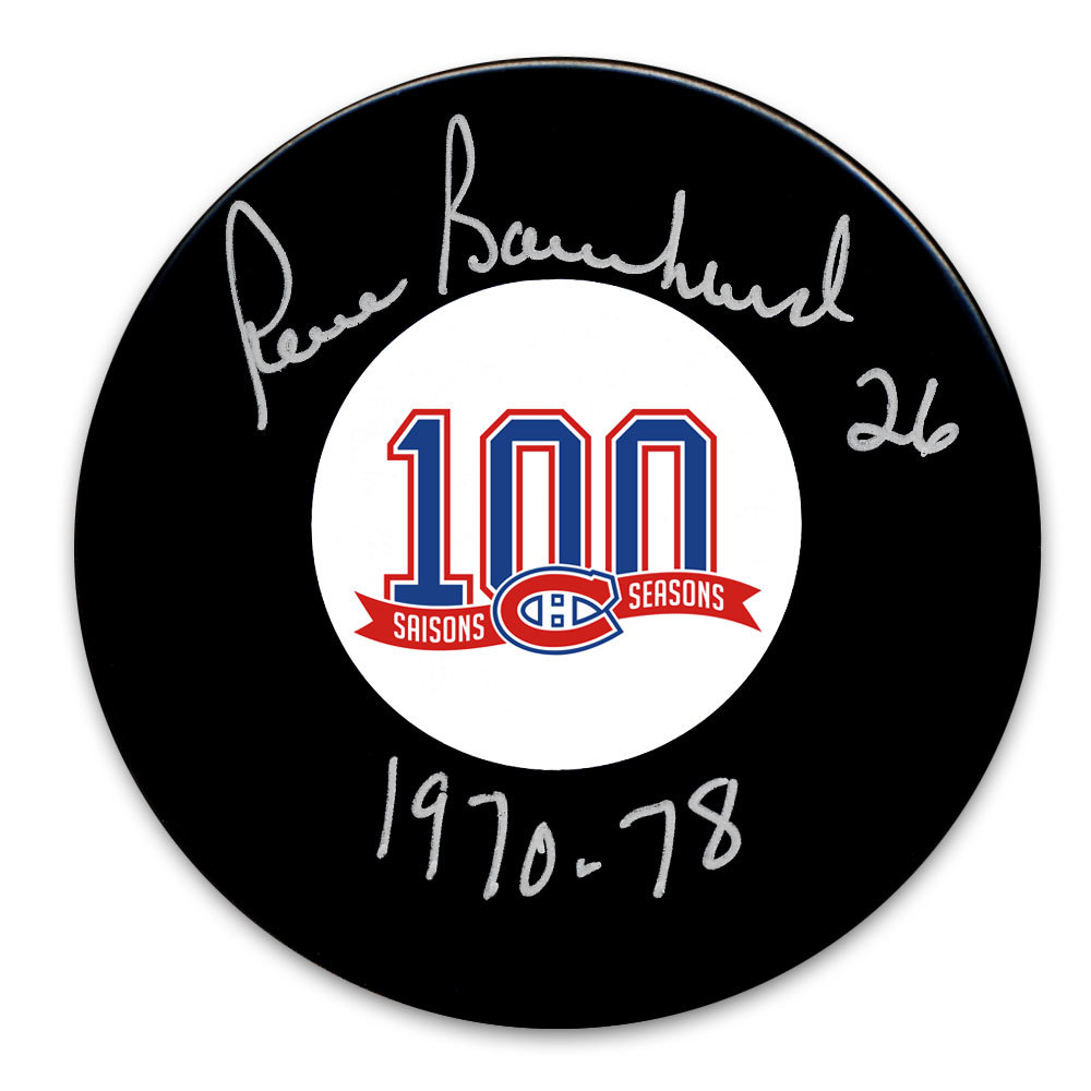 Pierre Bouchard Montreal Canadiens 100th Anniversary Autographed Puck
