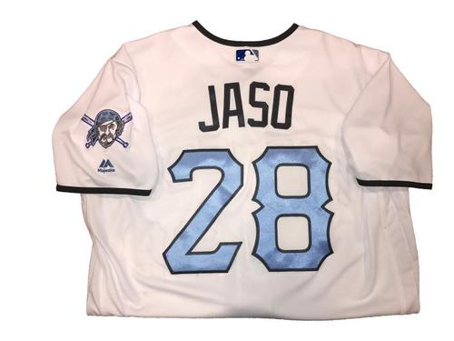 Photo of John Jaso Game-Used Father's Day Weekend Jersey - Worn on 6/17 & 6/18