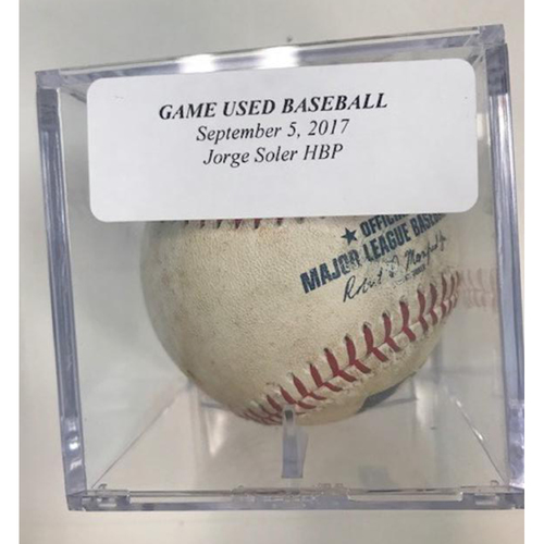 Photo of Game-Used Baseball: Jorge Soler HBP