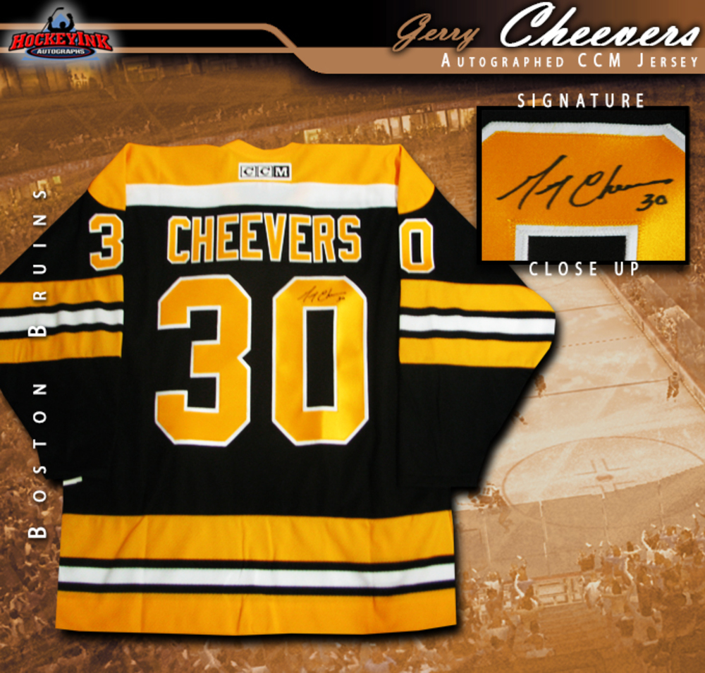 GERRY CHEEVERS Signed Black Boston Bruins CCM Jersey
