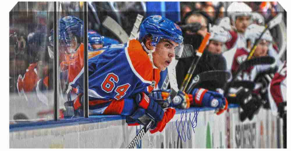 Nail Yakupov - Signed 14x28 Canvas - Edmonton Oilers On Bench