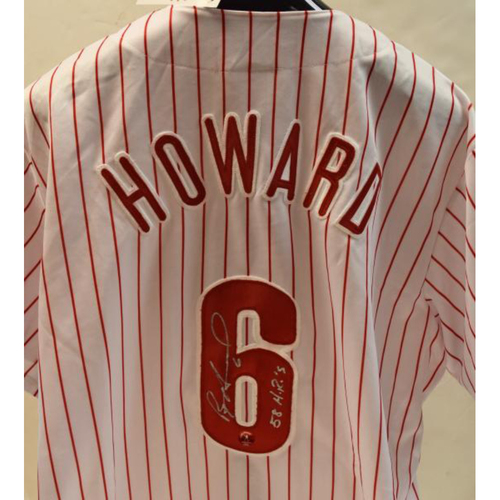 Photo of Ryan Howard Autographed #6 Philadelphia Phillies Jersey with 58 HR Inscription