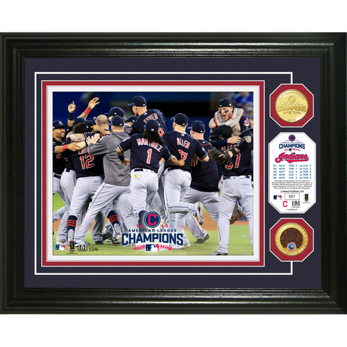 Photo of 2016 American League Champions Photomint with ALCS Game-Used Dirt and Bronze Coin