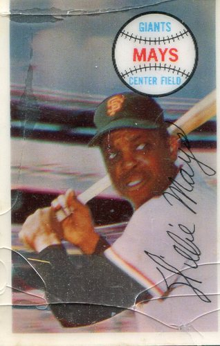 Photo of 1970 Kellogg's #12 Willie Mays -- slight crack at top of card