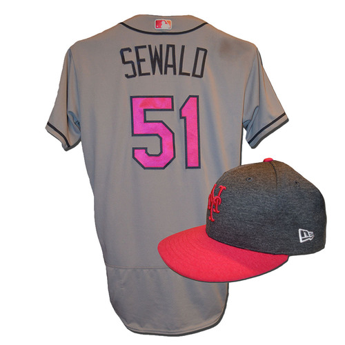 Photo of Paul Sewald #51 - Game Used Mother's Day Jersey and Hat - Mets vs. Brewers - 5/14/17