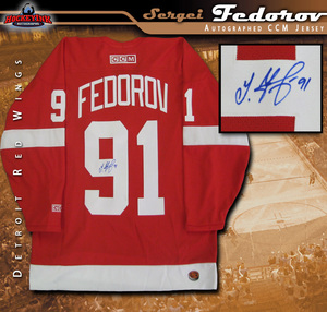 SERGEI FEDOROV Signed Detroit Red Wings Red CCM Jersey