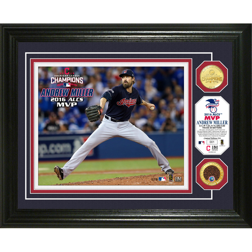 Photo of Andrew Miller 2016 ALCS MVP Photomint with ALCS Game-Used Dirt and Bronze Coin