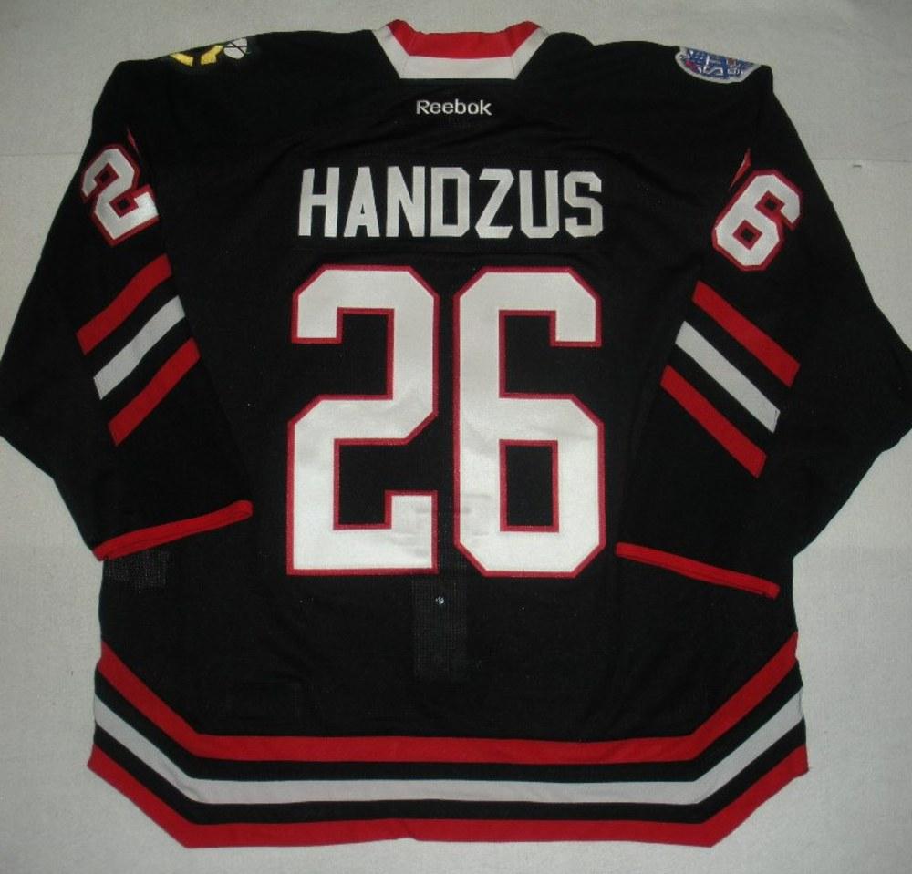 Michal Handzus - 2014 Stadium Series - Chicago Blackhawks - Black Game-Worn Jersey - Worn in First Period
