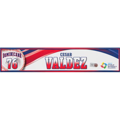 Photo of 2017 WBC Dominican Republic Game-Used Locker Tag: Cesar Valdez #76