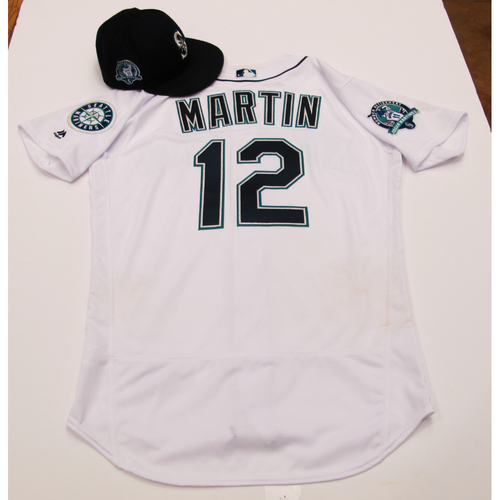 Photo of Leonys Martin White Game-Used Jersey & Cap With Edgar Martinez Patch 8-12-2017 - Sizes: Jersey - 44, Cap 7 1/4